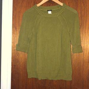 JCrew short sleeve w/ cuffs sweater/olive green